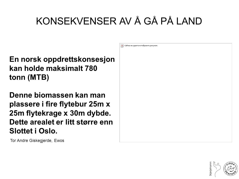 En norsk oppdrettskonsesjon kan holde maksimalt 780 tonn (MTB) Denne biomassen kan man plassere i fire flytebur 25m x 25m flytekrage x 30m dybde. Dett