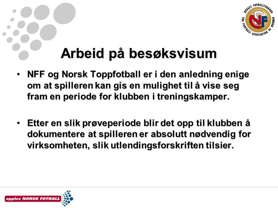 NFF og Norsk Toppfotball er i den anledning enige om at spilleren kan gis en mulighet til å vise seg fram en periode for klubben i treningskamper.NFF