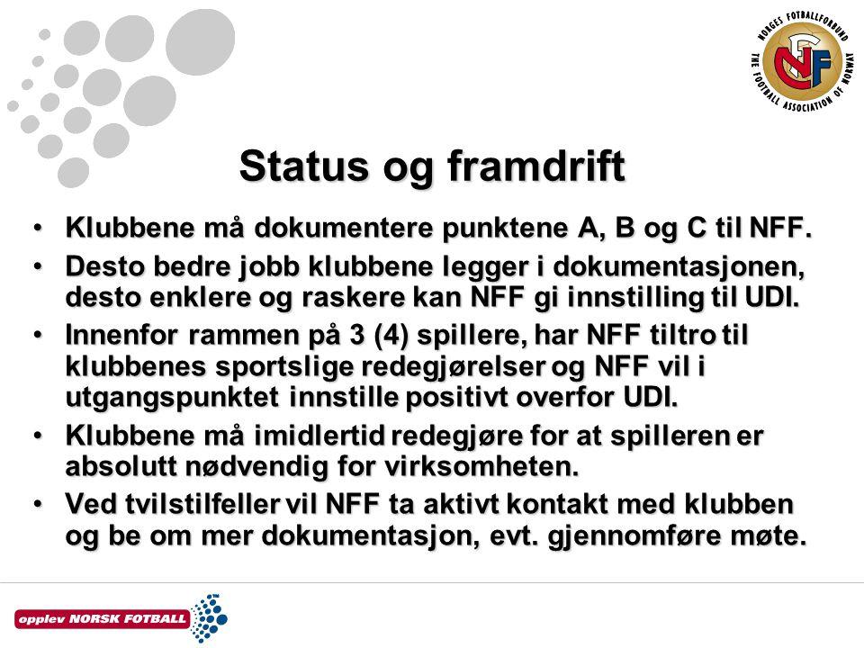 Status og framdrift Klubbene må dokumentere punktene A, B og C til NFF.Klubbene må dokumentere punktene A, B og C til NFF. Desto bedre jobb klubbene l