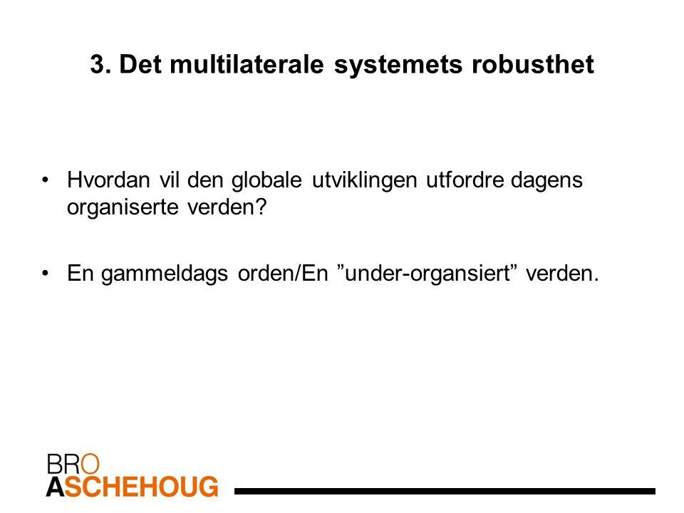 """3. Det multilaterale systemets robusthet Hvordan vil den globale utviklingen utfordre dagens organiserte verden? En gammeldags orden/En """"under-organsi"""