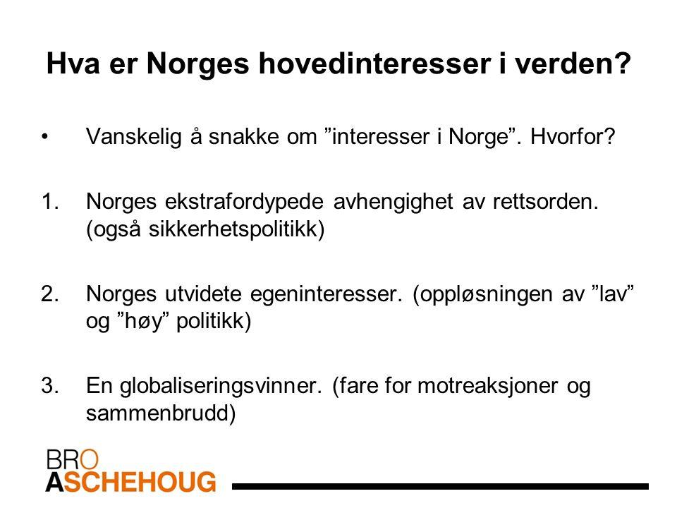 """Hva er Norges hovedinteresser i verden? Vanskelig å snakke om """"interesser i Norge"""". Hvorfor? 1.Norges ekstrafordypede avhengighet av rettsorden. (også"""