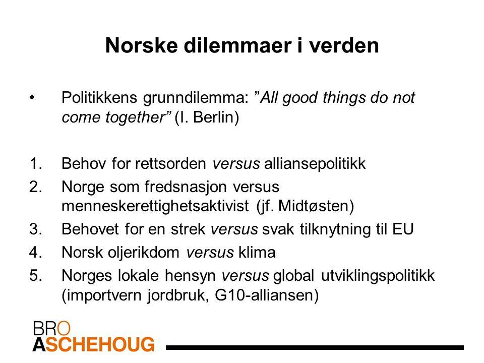 """Norske dilemmaer i verden Politikkens grunndilemma: """"All good things do not come together"""" (I. Berlin) 1.Behov for rettsorden versus alliansepolitikk"""