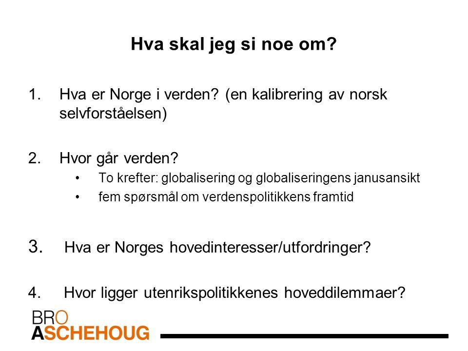 Hva skal jeg si noe om? 1.Hva er Norge i verden? (en kalibrering av norsk selvforståelsen) 2.Hvor går verden? To krefter: globalisering og globaliseri