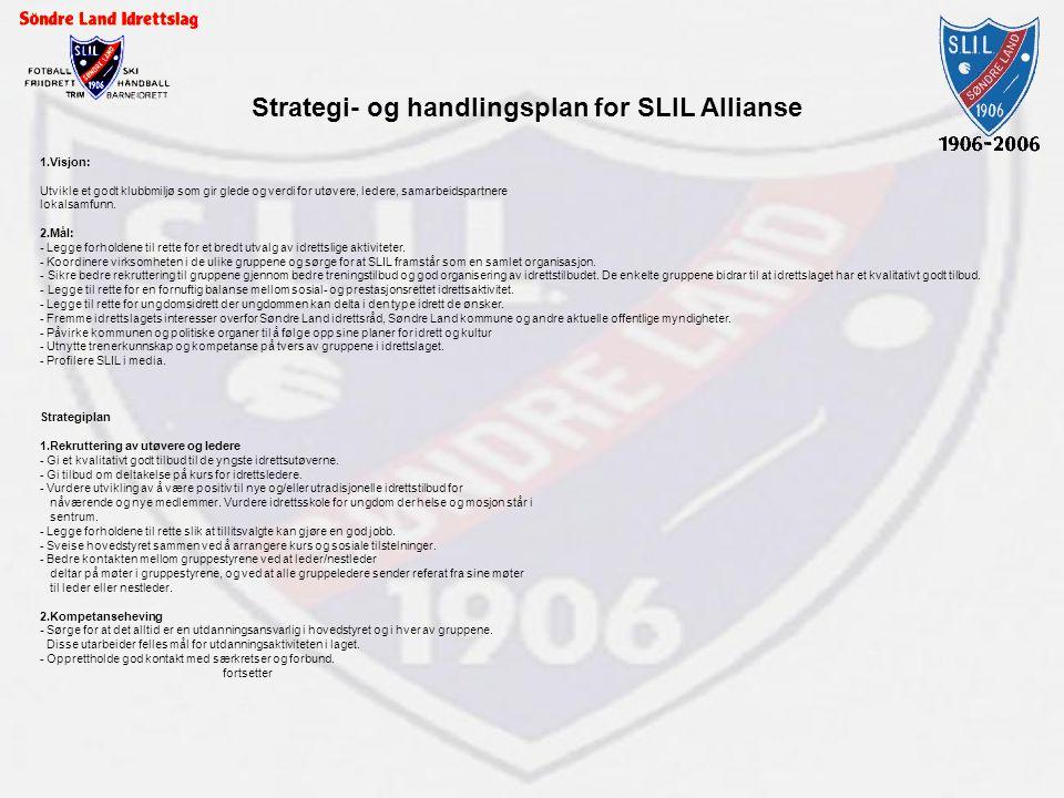 Strategi- og handlingsplan for SLIL Allianse 1.Visjon: Utvikle et godt klubbmiljø som gir glede og verdi for utøvere, ledere, samarbeidspartnere lokal