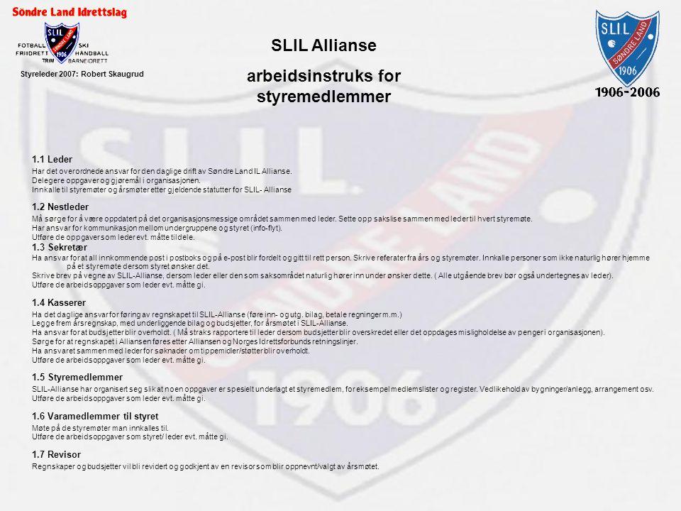 Styreleder 2007: Robert Skaugrud SLIL Allianse arbeidsinstruks for styremedlemmer 1.1 Leder Har det overordnede ansvar for den daglige drift av Søndre