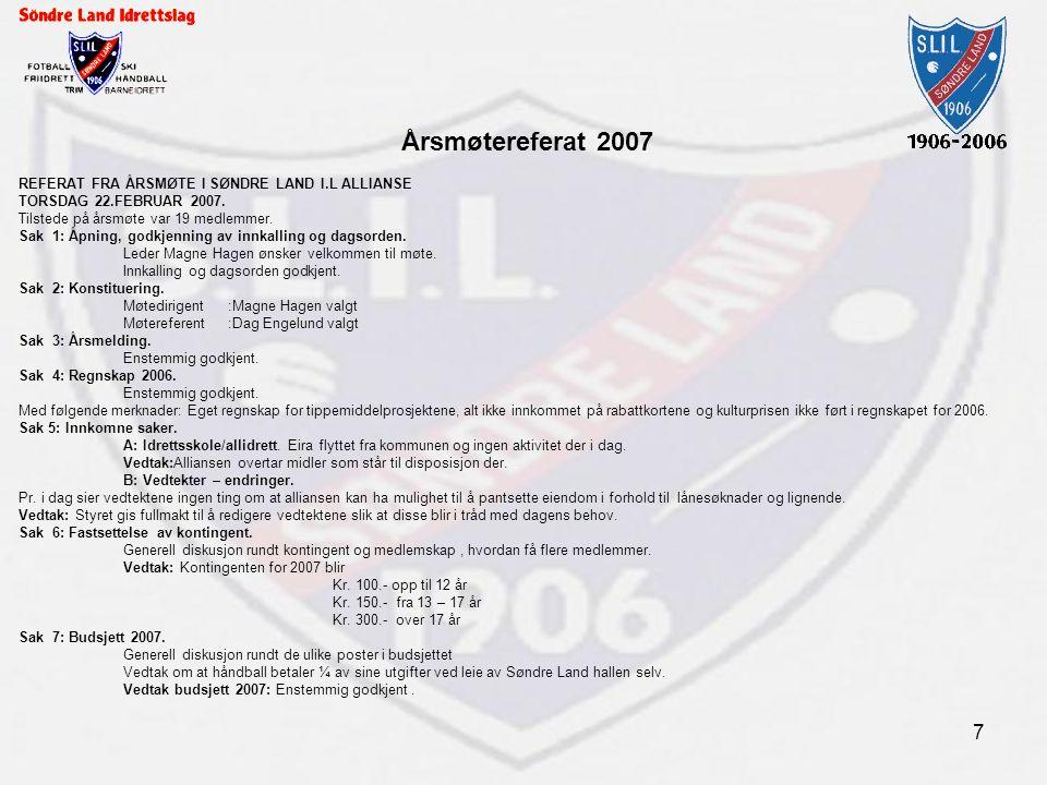 7 Årsmøtereferat 2007 REFERAT FRA ÅRSMØTE I SØNDRE LAND I.L ALLIANSE TORSDAG 22.FEBRUAR 2007. Tilstede på årsmøte var 19 medlemmer. Sak 1: Åpning, god