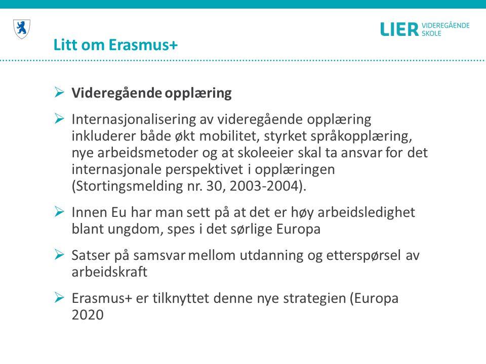Litt om Erasmus+  Videregående opplæring  Internasjonalisering av videregående opplæring inkluderer både økt mobilitet, styrket språkopplæring, nye arbeidsmetoder og at skoleeier skal ta ansvar for det internasjonale perspektivet i opplæringen (Stortingsmelding nr.