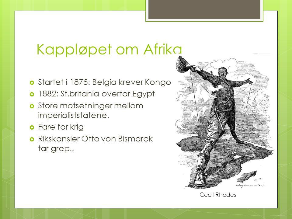 Kappløpet om Afrika  Startet i 1875: Belgia krever Kongo  1882: St.britania overtar Egypt  Store motsetninger mellom imperialiststatene.  Fare for