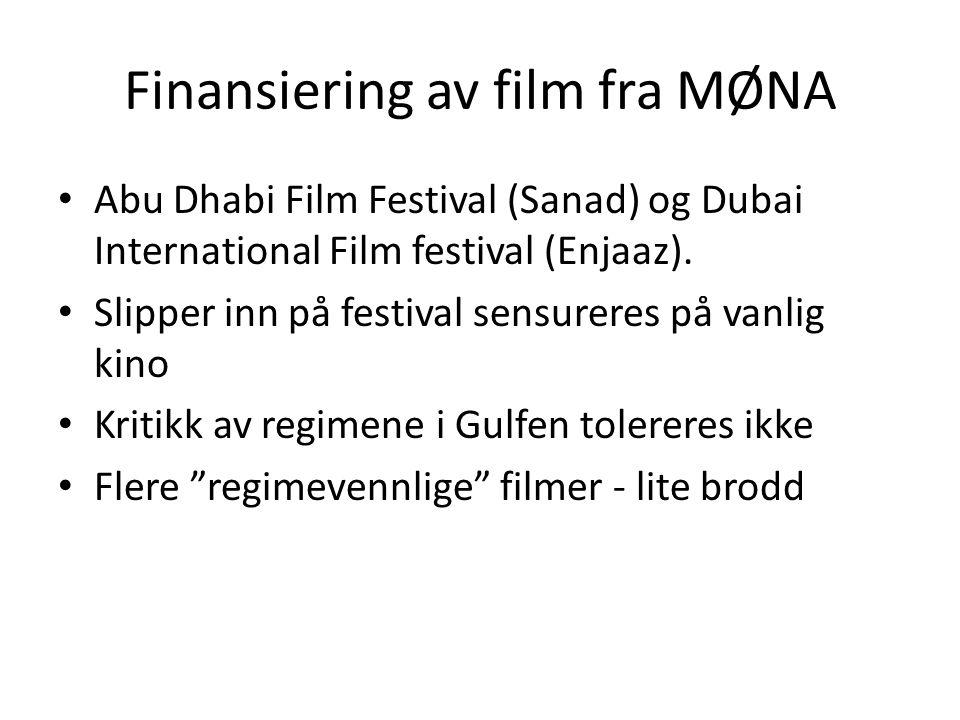 Finansiering av film fra MØNA Abu Dhabi Film Festival (Sanad) og Dubai International Film festival (Enjaaz). Slipper inn på festival sensureres på van