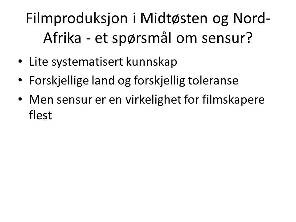 Filmproduksjon i Midtøsten og Nord- Afrika - et spørsmål om sensur? Lite systematisert kunnskap Forskjellige land og forskjellig toleranse Men sensur