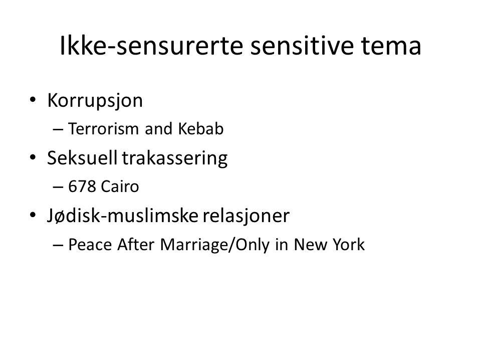 Ikke-sensurerte sensitive tema Den grønne sykkelen (2013), Haifa al-Mansour, Saudi-Arabia Electro Chaabi, (2013), Hind Meddeb, Egypt At Night They Dance (2012), Isabelle Lavigne, Egypy Pillow Secret (2013), Jillali Ferhati, Marokko