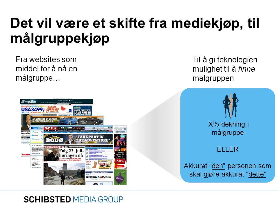 """Det vil være et skifte fra mediekjøp, til målgruppekjøp Fra websites som middel for å nå en målgruppe… X% dekning i målgruppe ELLER Akkurat """"den"""" pers"""