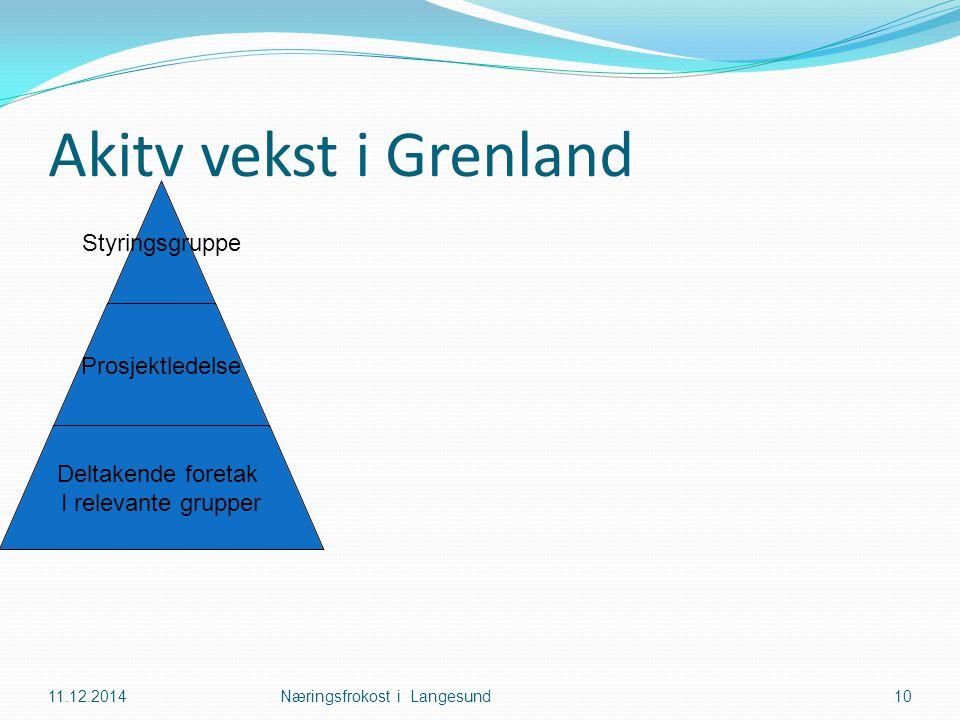 Akitv vekst i Grenland 11.12.2014Næringsfrokost i Langesund10 Styringsgruppe Prosjektledelse Deltakende foretak I relevante grupper