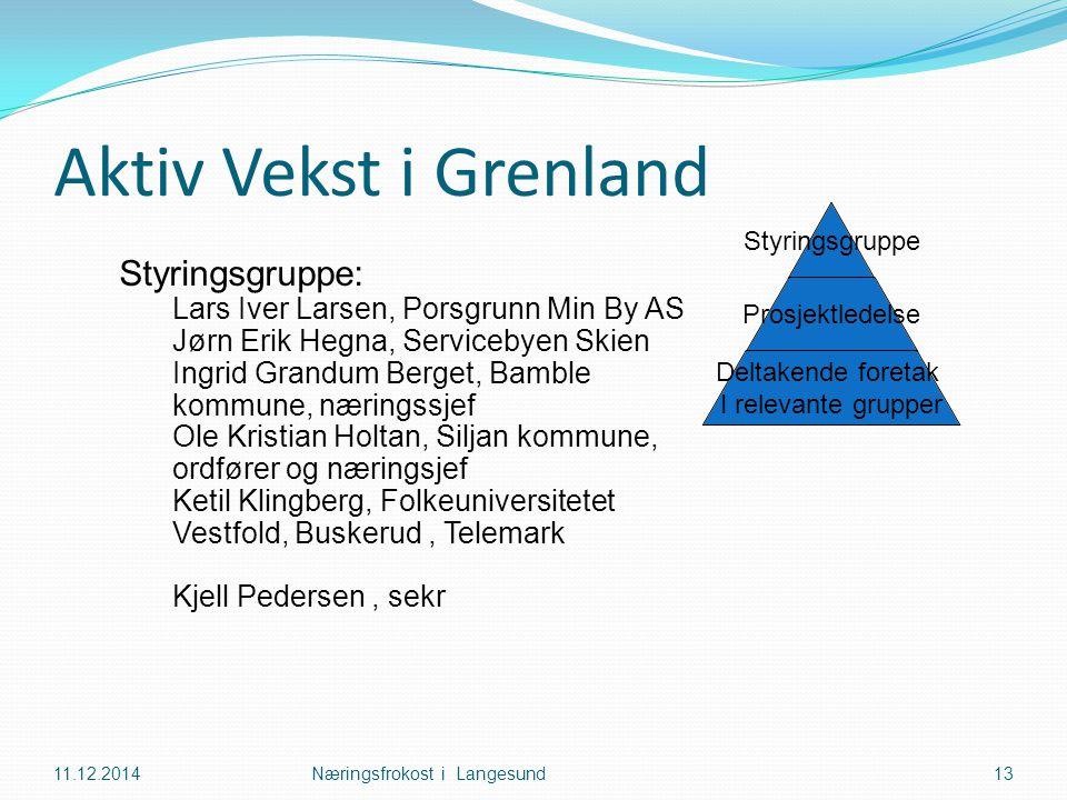 Aktiv Vekst i Grenland 11.12.2014Næringsfrokost i Langesund13 Styringsgruppe: Lars Iver Larsen, Porsgrunn Min By AS Jørn Erik Hegna, Servicebyen Skien