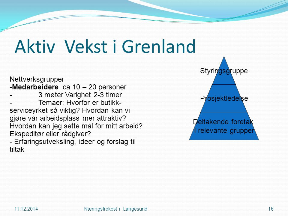 Aktiv Vekst i Grenland 11.12.2014Næringsfrokost i Langesund16 Nettverksgrupper -Medarbeidere ca 10 – 20 personer -3 møter Varighet 2-3 timer -Temaer: