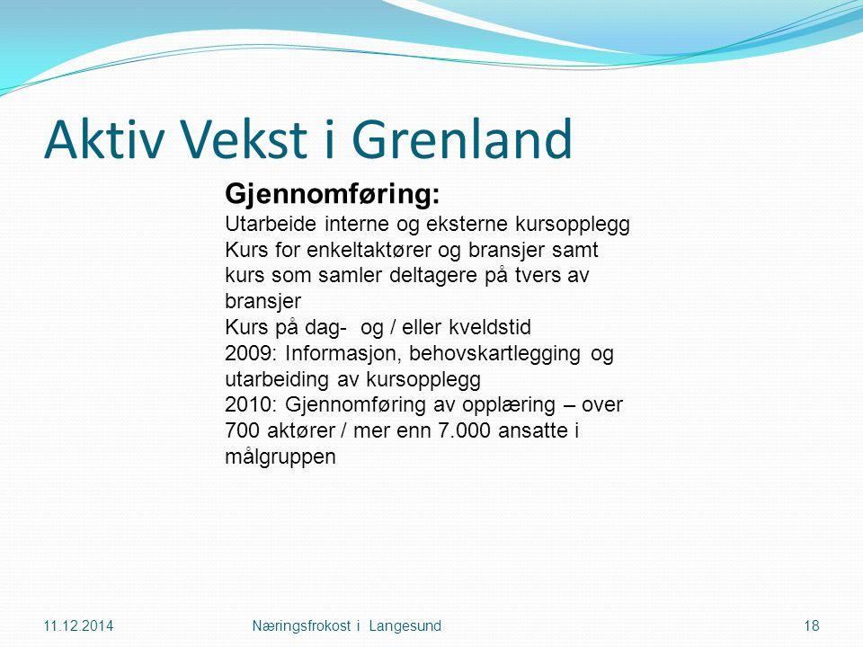 Aktiv Vekst i Grenland 11.12.2014Næringsfrokost i Langesund18 Gjennomføring: Utarbeide interne og eksterne kursopplegg Kurs for enkeltaktører og bransjer samt kurs som samler deltagere på tvers av bransjer Kurs på dag- og / eller kveldstid 2009: Informasjon, behovskartlegging og utarbeiding av kursopplegg 2010: Gjennomføring av opplæring – over 700 aktører / mer enn 7.000 ansatte i målgruppen