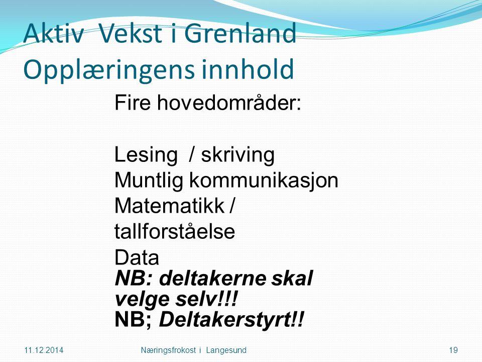 Aktiv Vekst i Grenland Opplæringens innhold 11.12.2014Næringsfrokost i Langesund19 Fire hovedområder: Lesing / skriving Muntlig kommunikasjon Matemati