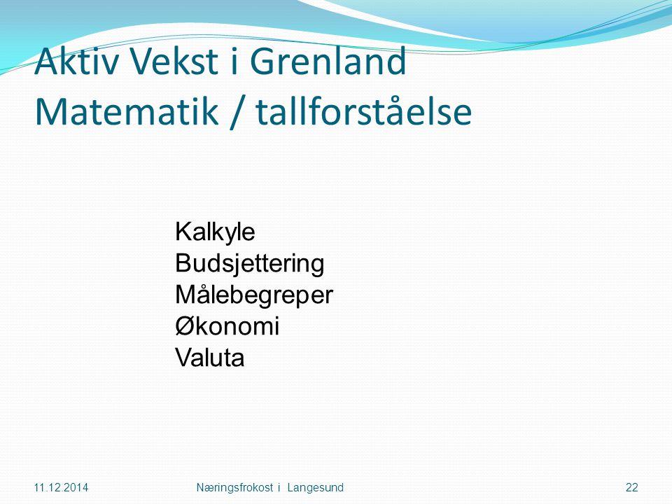 Aktiv Vekst i Grenland Matematik / tallforståelse 11.12.2014Næringsfrokost i Langesund22 Kalkyle Budsjettering Målebegreper Økonomi Valuta