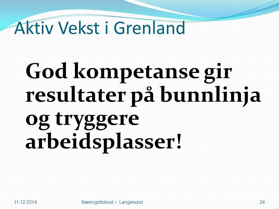 Aktiv Vekst i Grenland God kompetanse gir resultater på bunnlinja og tryggere arbeidsplasser! 11.12.2014Næringsfrokost i Langesund24