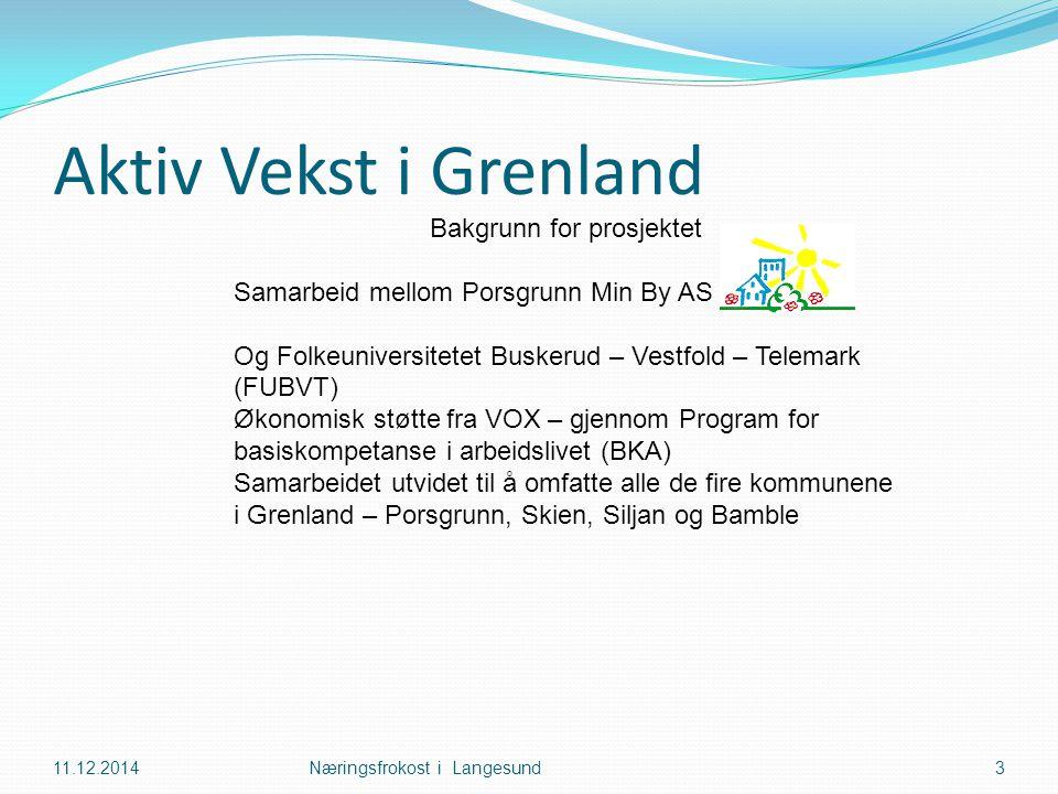 Aktiv Vekst i Grenland 11.12.2014Næringsfrokost i Langesund3 Bakgrunn for prosjektet Samarbeid mellom Porsgrunn Min By AS og Og Folkeuniversitetet Buskerud – Vestfold – Telemark (FUBVT) Økonomisk støtte fra VOX – gjennom Program for basiskompetanse i arbeidslivet (BKA) Samarbeidet utvidet til å omfatte alle de fire kommunene i Grenland – Porsgrunn, Skien, Siljan og Bamble