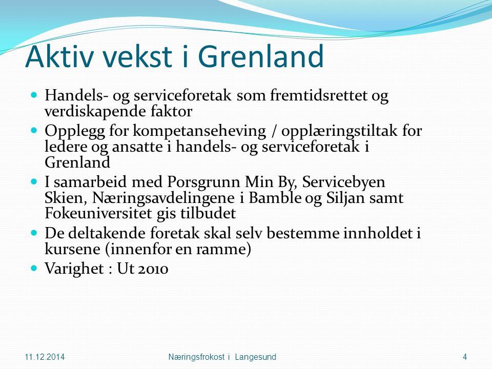 Aktiv vekst i Grenland Handels- og serviceforetak som fremtidsrettet og verdiskapende faktor Opplegg for kompetanseheving / opplæringstiltak for leder