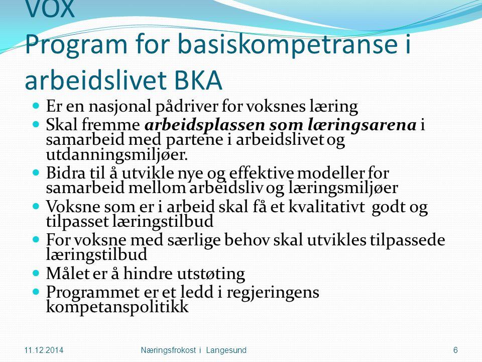 VOX Program for basiskompetranse i arbeidslivet BKA Er en nasjonal pådriver for voksnes læring Skal fremme arbeidsplassen som læringsarena i samarbeid med partene i arbeidslivet og utdanningsmiljøer.