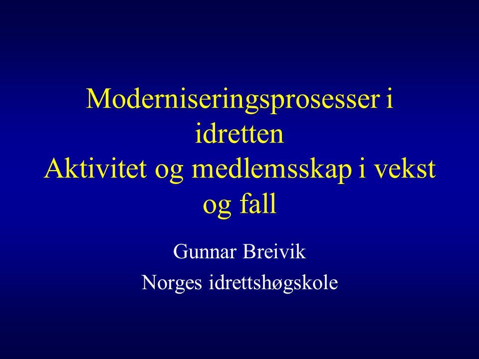 Moderniseringsprosesser i idretten Aktivitet og medlemsskap i vekst og fall Gunnar Breivik Norges idrettshøgskole