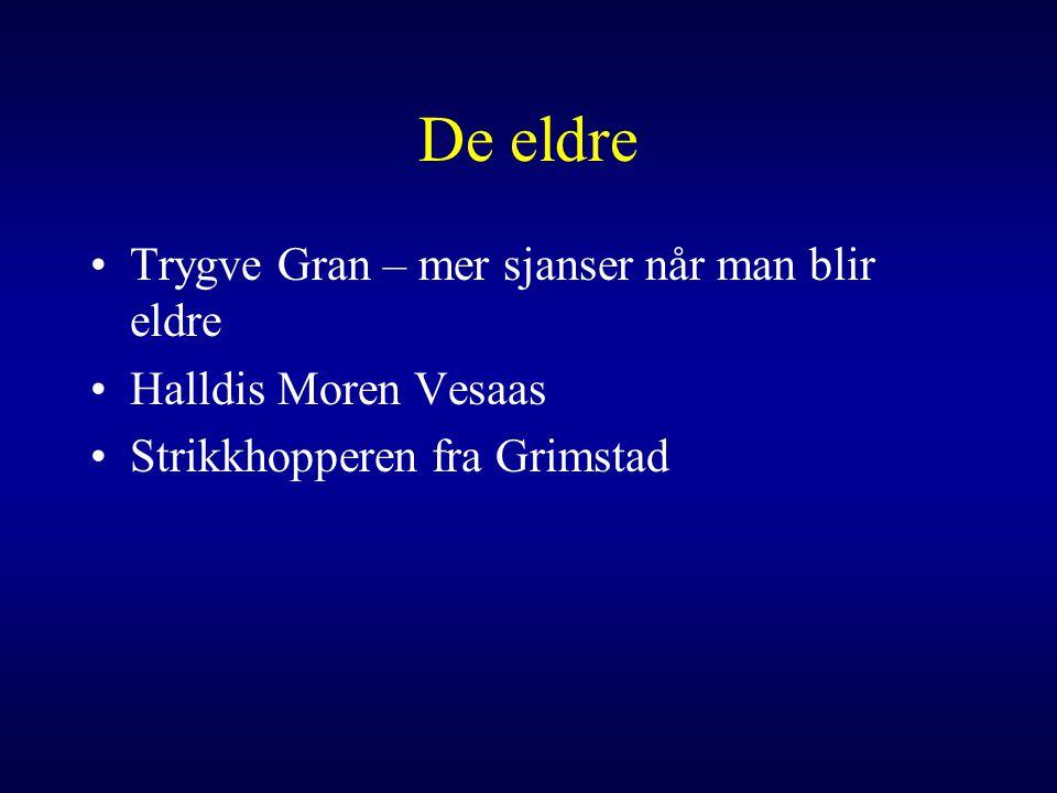 De eldre Trygve Gran – mer sjanser når man blir eldre Halldis Moren Vesaas Strikkhopperen fra Grimstad