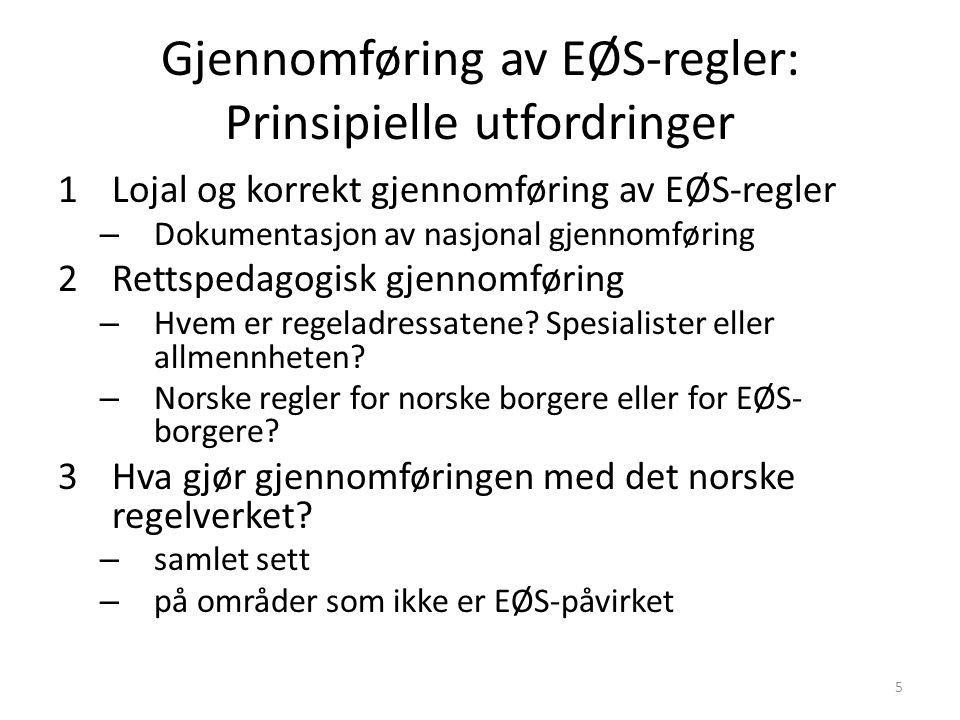 Gjennomføring av EØS-regler: Prinsipielle utfordringer 1Lojal og korrekt gjennomføring av EØS-regler – Dokumentasjon av nasjonal gjennomføring 2Rettsp