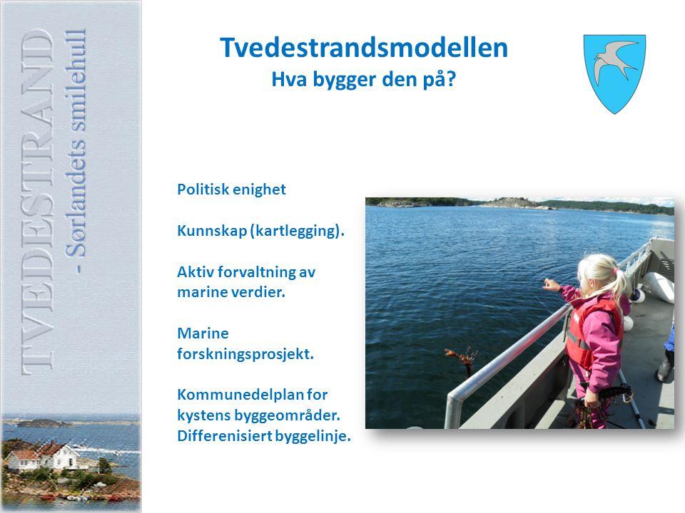 Tvedestrandsmodellen Hva bygger den på? Politisk enighet Kunnskap (kartlegging). Aktiv forvaltning av marine verdier. Marine forskningsprosjekt. Kommu