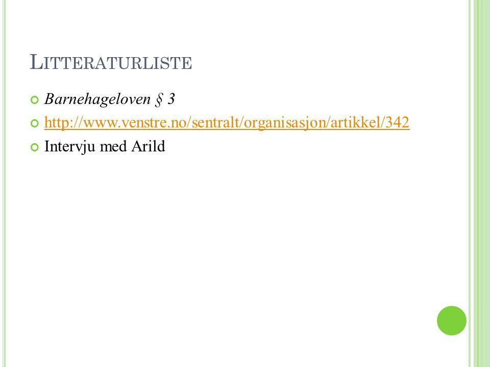 L ITTERATURLISTE Barnehageloven § 3 http://www.venstre.no/sentralt/organisasjon/artikkel/342 Intervju med Arild
