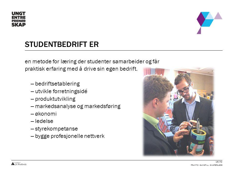 ue.no STUDENTBEDRIFT ER en metode for læring der studenter samarbeider og får praktisk erfaring med å drive sin egen bedrift. – bedriftsetablering – u