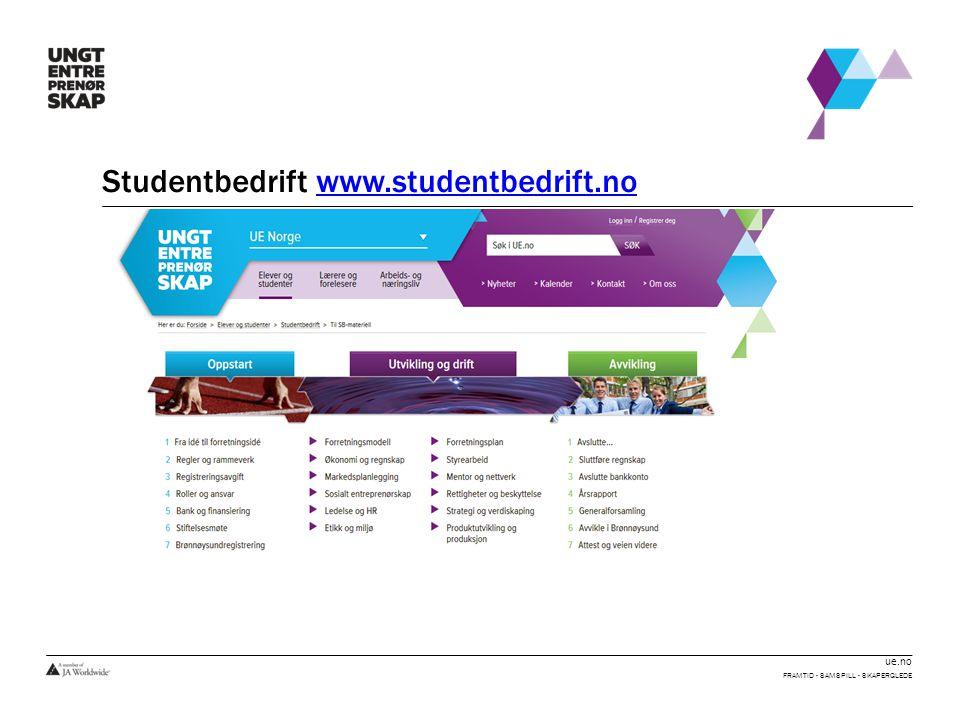 ue.no Studentbedrift www.studentbedrift.nowww.studentbedrift.no FRAMTID - SAMSPILL - SKAPERGLEDE