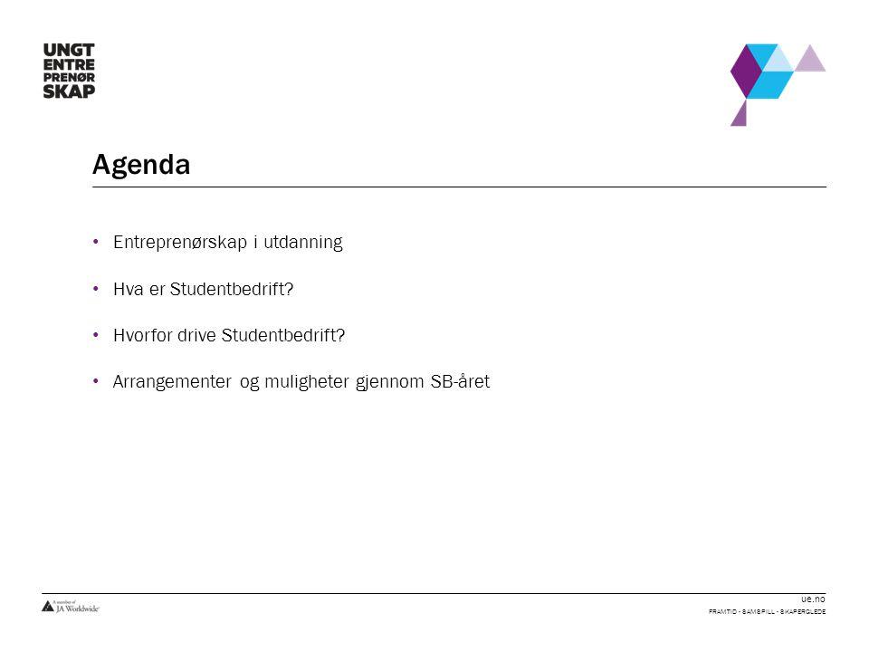 ue.no Agenda Entreprenørskap i utdanning Hva er Studentbedrift? Hvorfor drive Studentbedrift? Arrangementer og muligheter gjennom SB-året FRAMTID - SA