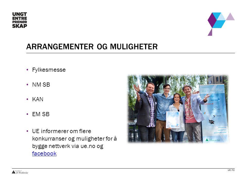 ue.no ARRANGEMENTER OG MULIGHETER Fylkesmesse NM SB KAN EM SB UE informerer om flere konkurranser og muligheter for å bygge nettverk via ue.no og face