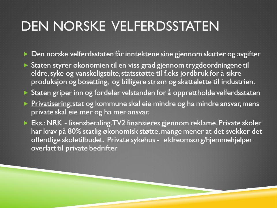 DEN NORSKE VELFERDSSTATEN  Den norske velferdsstaten får inntektene sine gjennom skatter og avgifter  Staten styrer økonomien til en viss grad gjenn