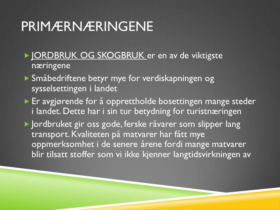 SEKUNDÆRNÆRINGENE  OLJEINDUSTRI: er kanskje den viktigste næringsveien i Norge  I starten dominerte utenlandske selskaper utbyggingen av olje- og gassfeltene  Statoil opprettet i 1972 – et av de største selskapene i landet  Norge har 0,9% av verdens olje- og gassressurser (2005), størst er den arabiske verden med 63%  Prioritert oppgave: utvikle og forbedre boreriggene slik at de kan klare å hente mer olje fra de eksisterende brønnene