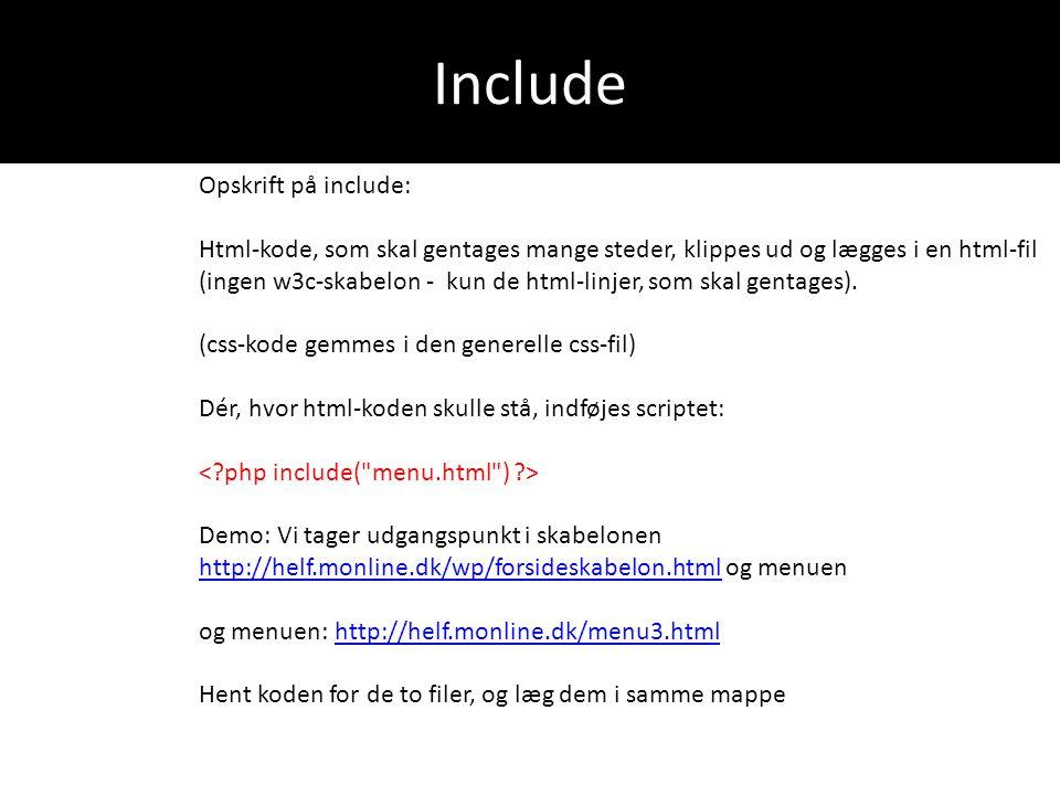 Besøgstæller <?php $antal=file_get_contents( taeller.txt ); $antal=$antal+1; file_put_contents( taeller.txt ,$antal); ?> …….