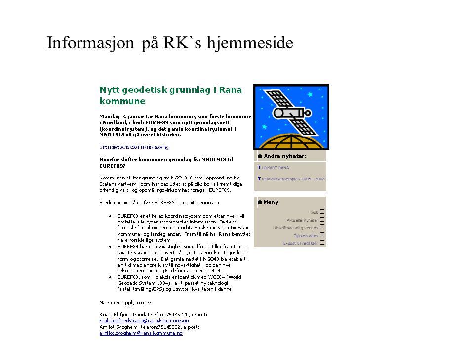 Erfaringer fra Rana ARBEIDSOPPGAVER Sjekkliste over arbeidsoppgaver og løsninger, blant annet testing av utstyr ved innmåling, utstikking og beregning i EUREF Liste over alle datakataloger med geodata.