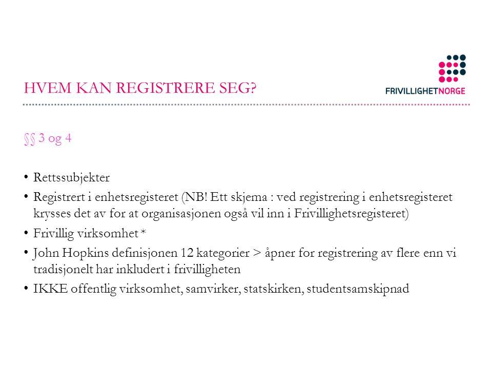 HVEM KAN REGISTRERE SEG. §§ 3 og 4 Rettssubjekter Registrert i enhetsregisteret (NB.