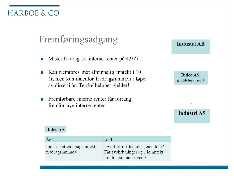 Fremføringsadgang ■Mistet fradrag for interne renter på 4,9 år 1. ■Kan fremføres mot alminnelig inntekt i 10 år, men kun innenfor fradragsrammen i løp