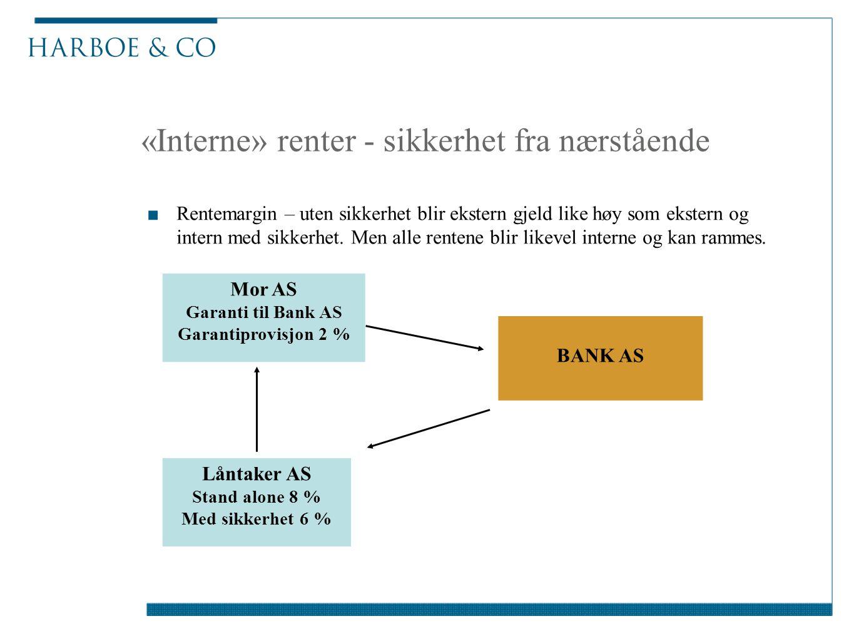 «Interne» renter - sikkerhet fra nærstående ■Rentemargin – uten sikkerhet blir ekstern gjeld like høy som ekstern og intern med sikkerhet. Men alle re