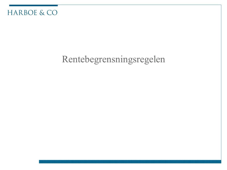 Ny § 6-41 om begrensning av rentefradrag ■Fra og med 2014 – selskapers skattemessig fradrag for interne renter begrenses innenfor en fradragsramme ■Interne renter er renter betalt til nærstående, eller renter betalt til eksterne, men der nærstående har stilt sikkerhet for gjelden ■Nærstående er primært person, selskap eller innretning, med minst 50 % direkte eller indirekte eierskap eller kontroll (vid definisjon for øvrig) HOLDING BVI Virksomhet AS Gjeld og renter til Holding Mor AS garanti Låntaker AS BANK