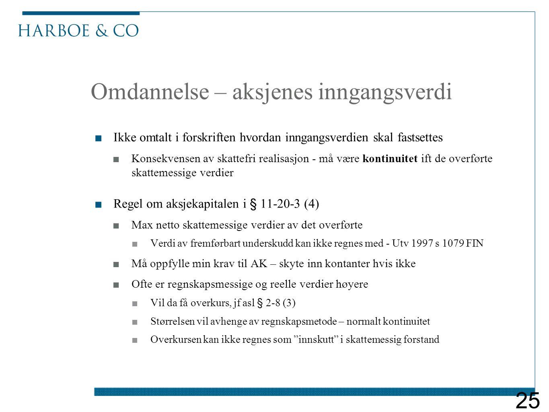 Omdannelse – aksjenes inngangsverdi ■Ikke omtalt i forskriften hvordan inngangsverdien skal fastsettes ■Konsekvensen av skattefri realisasjon - må vær