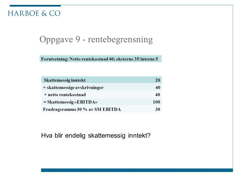 Oppgave 9 - rentebegrensning Forutsetning: Netto rentekostnad 40; eksterne 35/interne 5 Skattemessig inntekt 20 + skattemessige avskrivninger 40 + net