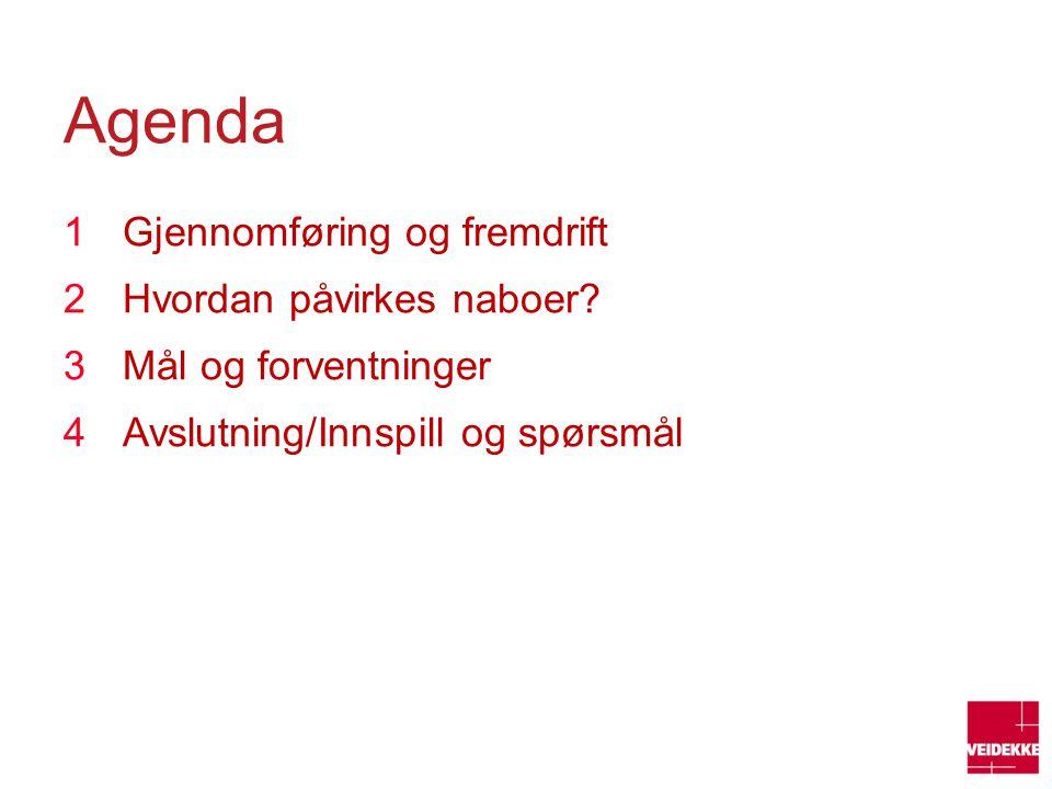 Agenda 1Gjennomføring og fremdrift 2Hvordan påvirkes naboer? 3Mål og forventninger 4Avslutning/Innspill og spørsmål
