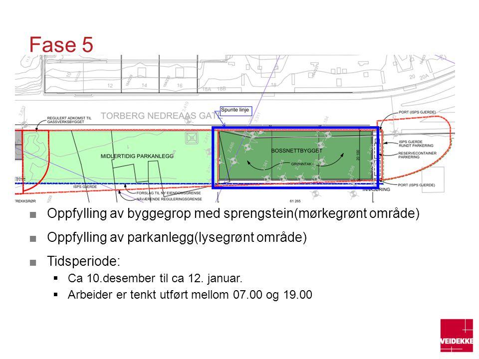 Fase 5 ■Oppfylling av byggegrop med sprengstein(mørkegrønt område) ■Oppfylling av parkanlegg(lysegrønt område) ■Tidsperiode:  Ca 10.desember til ca 1