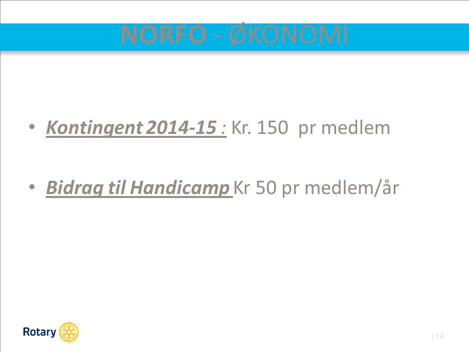 | 14 NORFO - ØKONOMI Kontingent 2014-15 : Kr. 150 pr medlem Bidrag til Handicamp Kr 50 pr medlem/år
