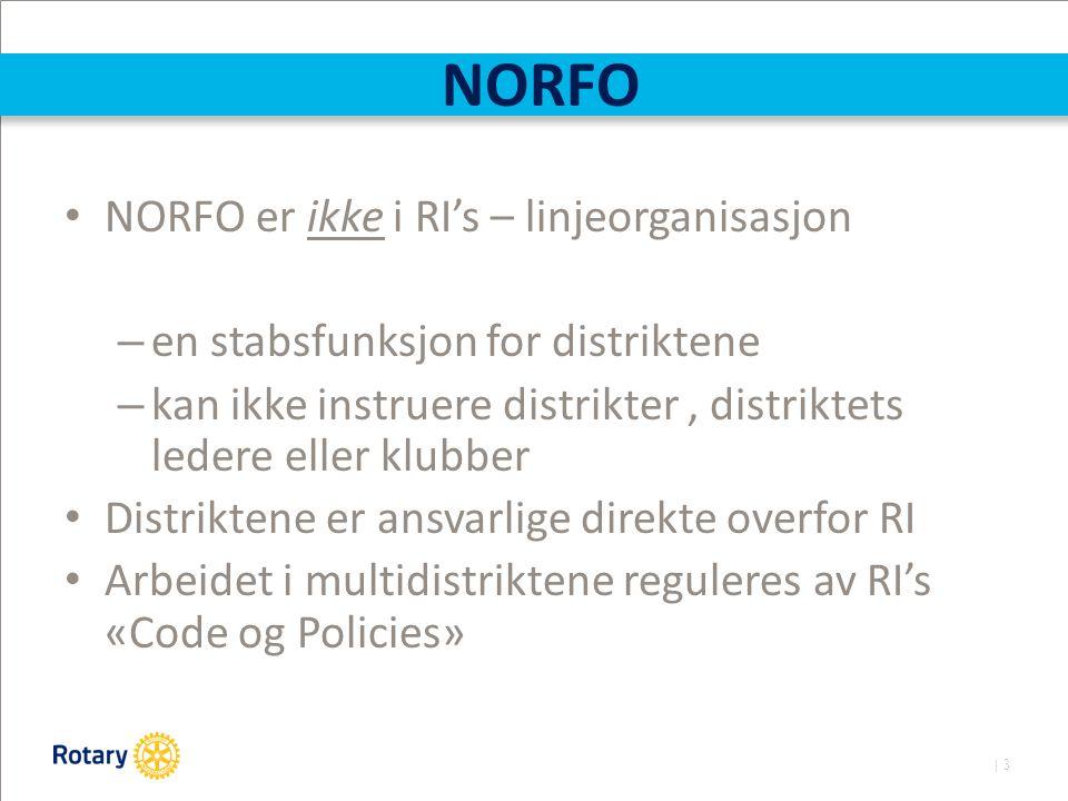 | 3 NORFO NORFO er ikke i RI's – linjeorganisasjon – en stabsfunksjon for distriktene – kan ikke instruere distrikter, distriktets ledere eller klubber Distriktene er ansvarlige direkte overfor RI Arbeidet i multidistriktene reguleres av RI's «Code og Policies»