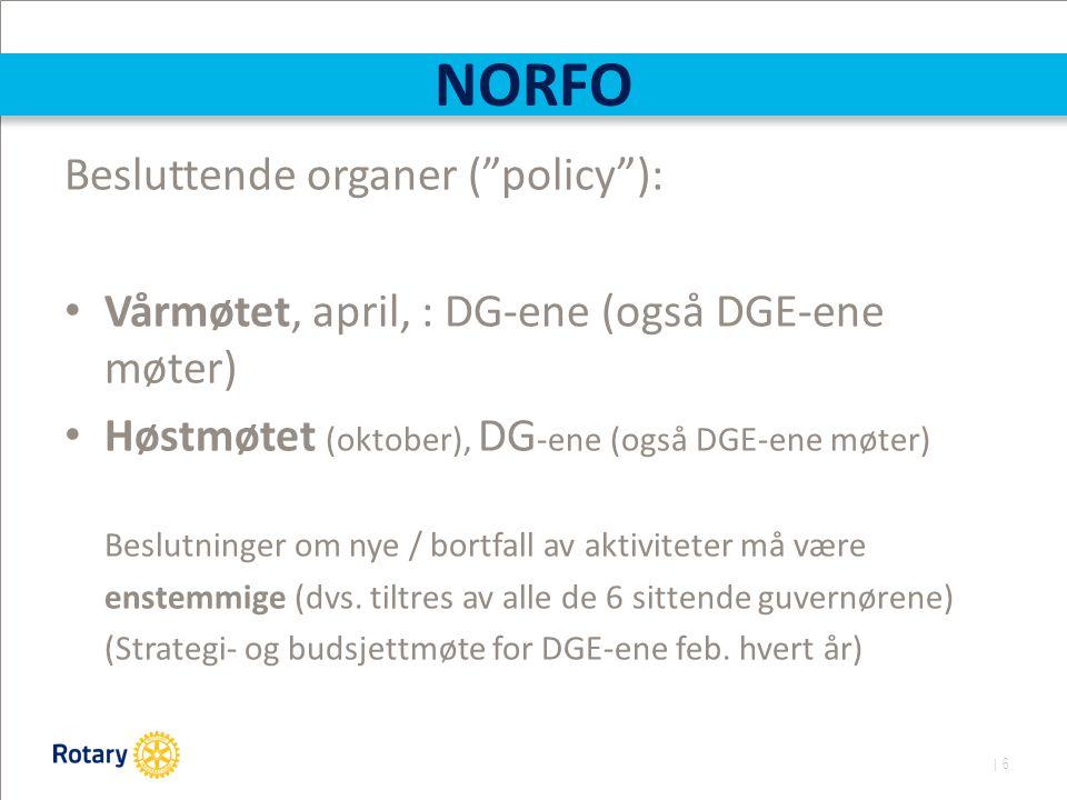 | 6 NORFO Besluttende organer ( policy ): Vårmøtet, april, : DG-ene (også DGE-ene møter) Høstmøtet (oktober), DG -ene (også DGE-ene møter) Beslutninger om nye / bortfall av aktiviteter må være enstemmige (dvs.
